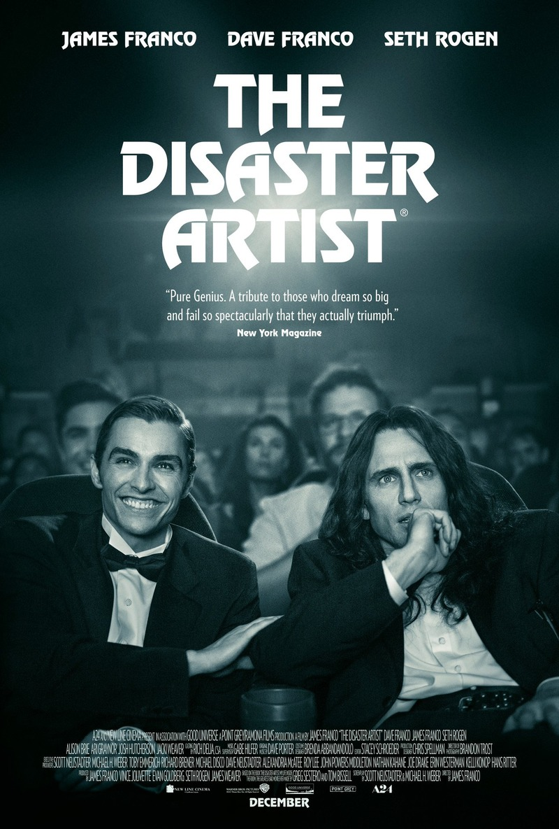 Affiche du film The Disaster Artist par James Franco avec James franco, Dave Franco et Seth Rogen, film US, sottie en 2018
