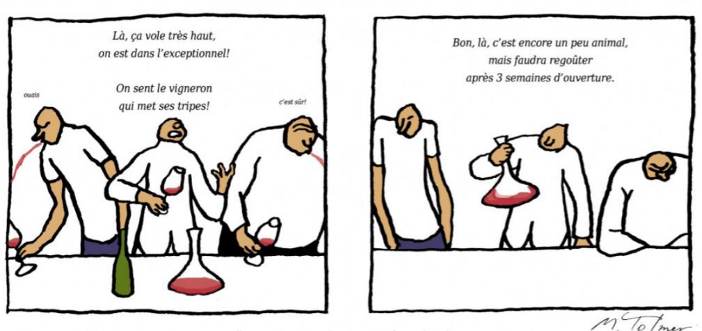Illustrations tirées de « Mimi, Fifi et Glouglou. Petit traité de dégustation » (c)Michel Tolmer, article le vin nature contre nature, parf pierre-emmanuelle fehr pour go out magazine mars 2018