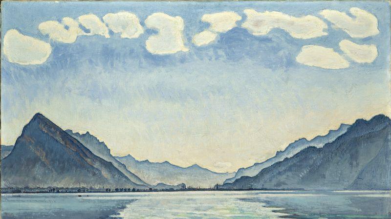 Le lac de Thoune aux reflets symétriques» (détail), une huile de 1905, article l'année hodler par quantin arnoux et anne fatout pour go out magazine mai 2018