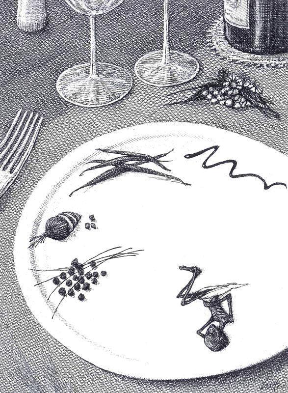 « Haute cuisine » (2011) (c)Martial Leiter, Le formidable dessinateur et peintre Neuchâtelois Martial Leiter (1952) est à l'honneur de l'espace d'exposition du magasin dévolu à la bande dessinée du bâtiment de l'Île Papiers Gras. Particularité de cette exposition qui prend des airs de rétrospective, aucune des œuvres présentées n'est datée, ce qui révèle d'autant plus la pertinence et l'acuité de l'artiste. Ses dessins aux hachures noires caractéristiques, dont la portée de manifeste se dévoile avec clarté, s'extirpent ainsi d'un conditionnement à un temps précis, dénonçant les aberrations du néo-libéralisme ou les atteintes à l'environnement qui elles-mêmes se situent dans une certaine intemporalité. La plume fine et corrosive de celui qui a dessiné pour de grands titres de presse suisses