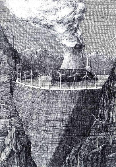 « Synergie » (2011) (c)Martial Leiter, Le formidable dessinateur et peintre Neuchâtelois Martial Leiter (1952) est à l'honneur de l'espace d'exposition du magasin dévolu à la bande dessinée du bâtiment de l'Île Papiers Gras. Particularité de cette exposition qui prend des airs de rétrospective, aucune des œuvres présentées n'est datée, ce qui révèle d'autant plus la pertinence et l'acuité de l'artiste. Ses dessins aux hachures noires caractéristiques, dont la portée de manifeste se dévoile avec clarté, s'extirpent ainsi d'un conditionnement à un temps précis, dénonçant les aberrations du néo-libéralisme ou les atteintes à l'environnement qui elles-mêmes se situent dans une certaine intemporalité. La plume fine et corrosive de celui qui a dessiné pour de grands titres de presse suisses